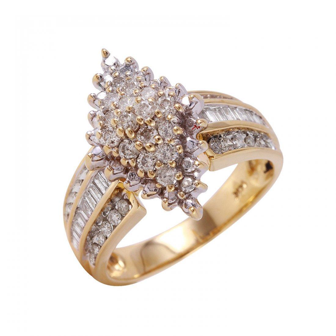 Ladies 1.02CTW Diamond 14K Two tone Gold Ring