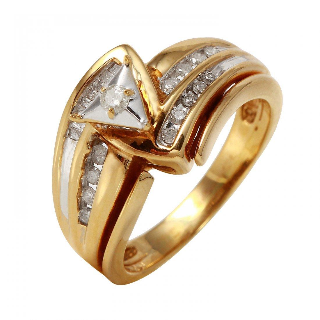 Ladies 0.33CTW Diamond 10K Yellow Gold Ring