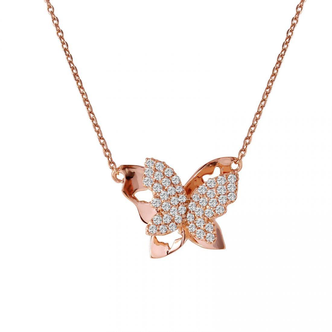 Ladies 0.29CTW Diamond 14K Rose Gold Necklace