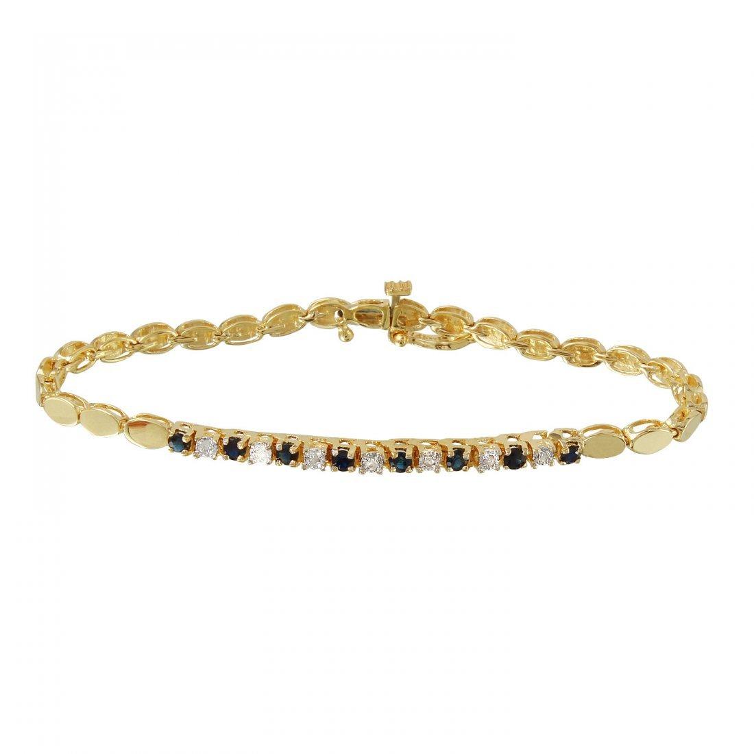 Ladies 0.43CTW Sapphire And Diamond 14K Yellow Gold