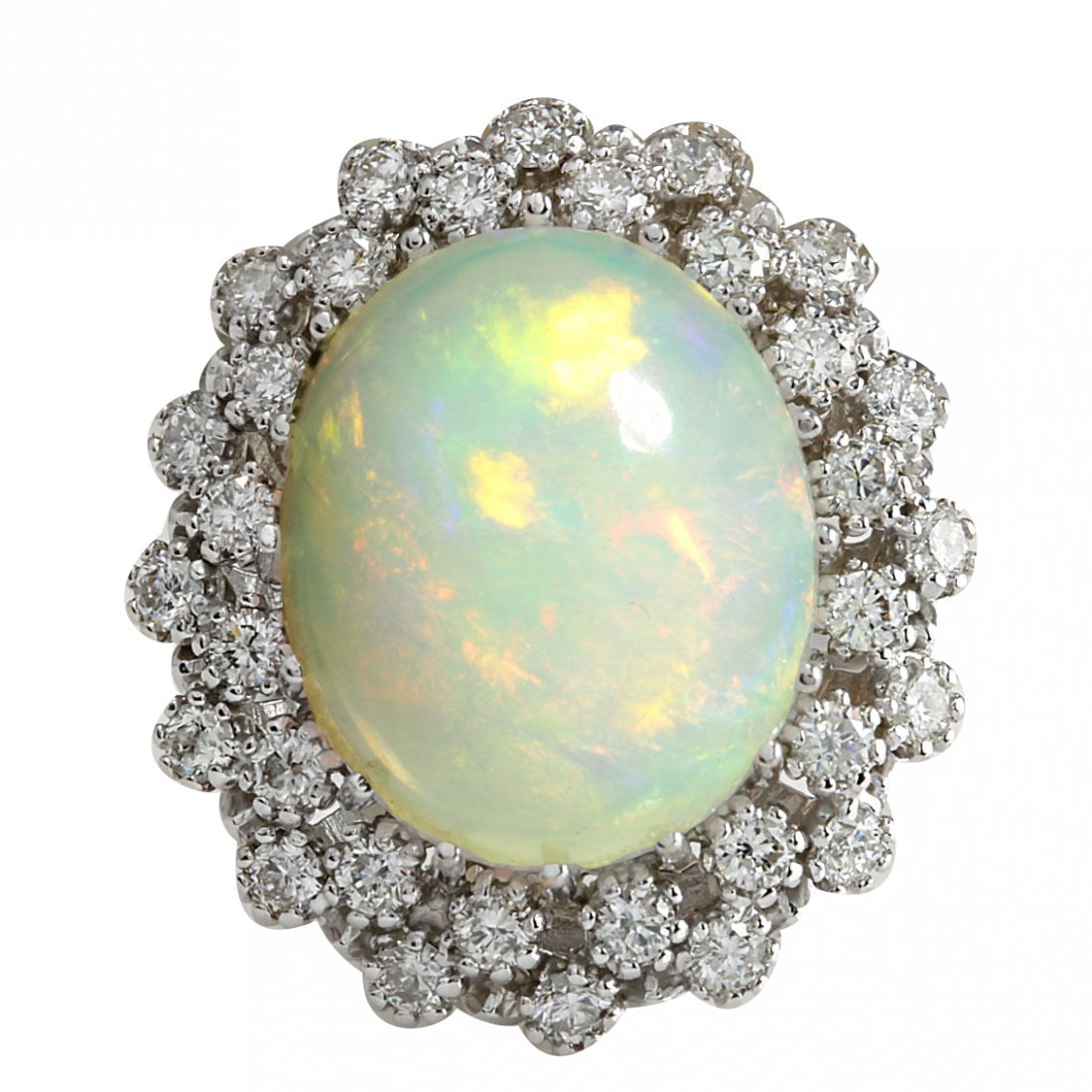 11.98CTW Natural Opal And Diamond Ring In 14K Solid