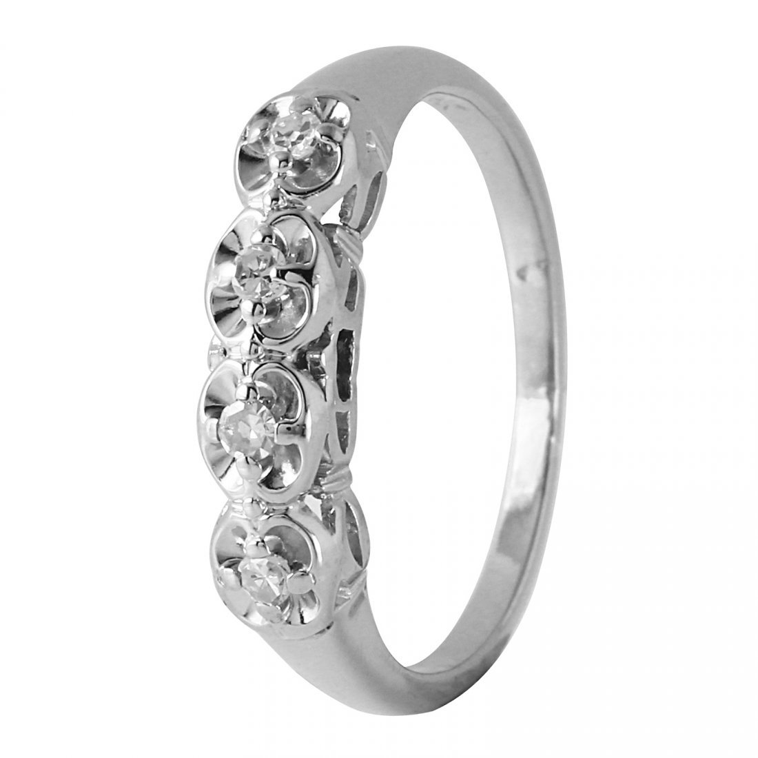 Ladies 0.1CTW Diamond 14K White Gold Ring