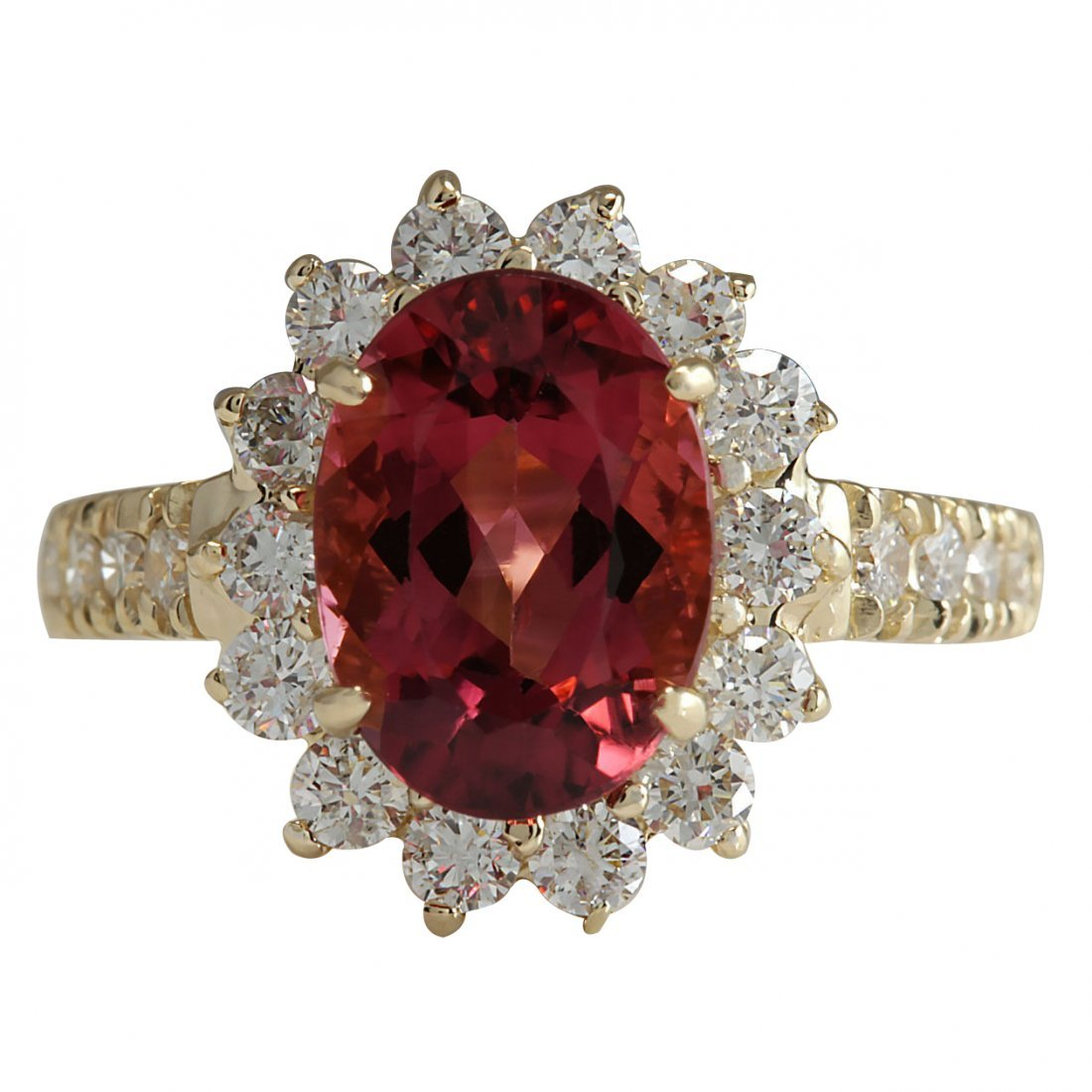 4.07CTW Natural Pink Tourmaline And Diamond Ring 14K
