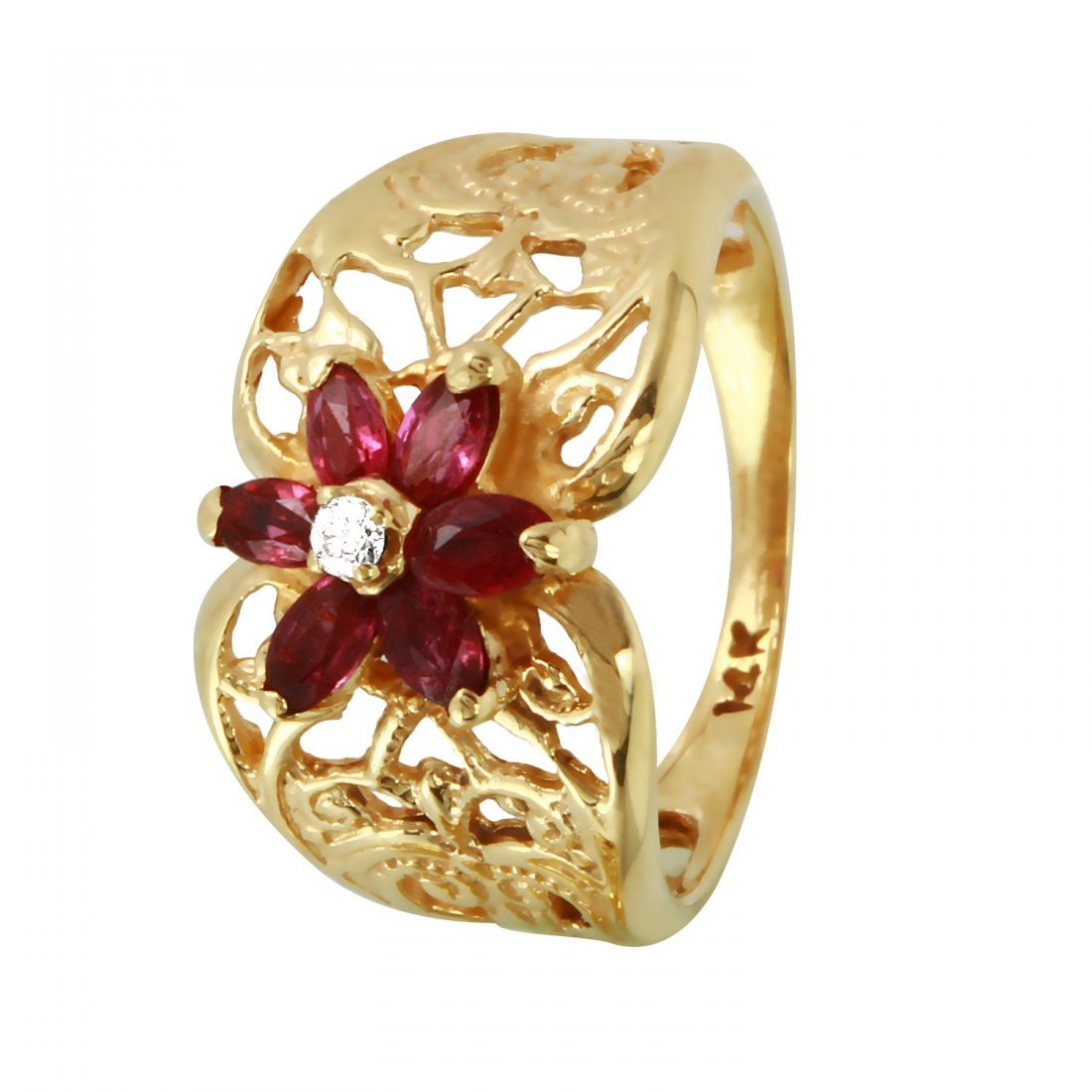 Ladies 0.52CTW Ruby And Diamond 14K Yellow Gold Ring