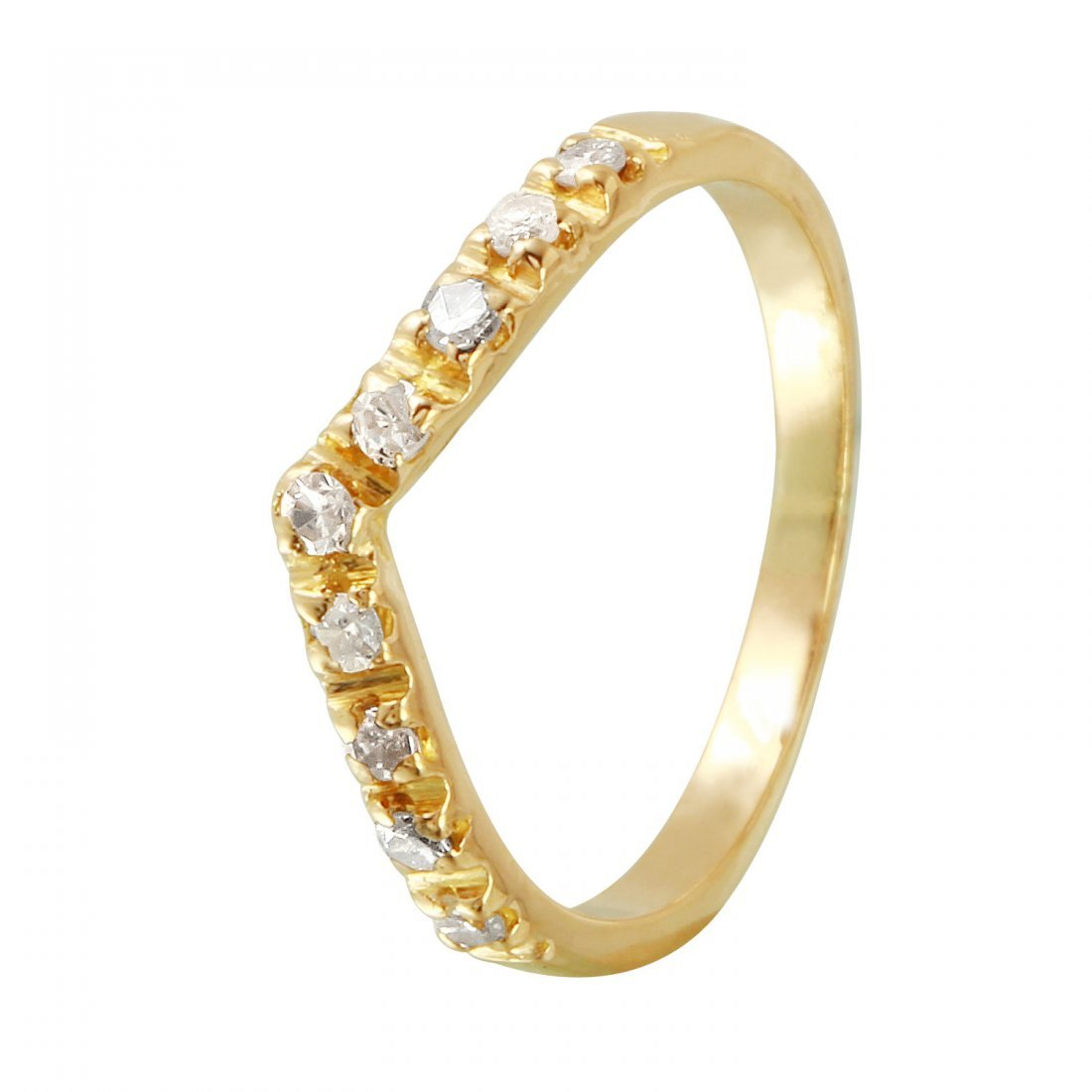 Ladies 0.15CTW Diamond 18k Yellow Gold Ring