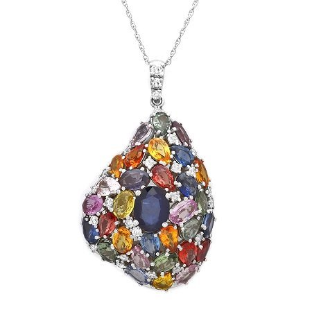 14K Multicolor Sapphire And Diamond Necklace