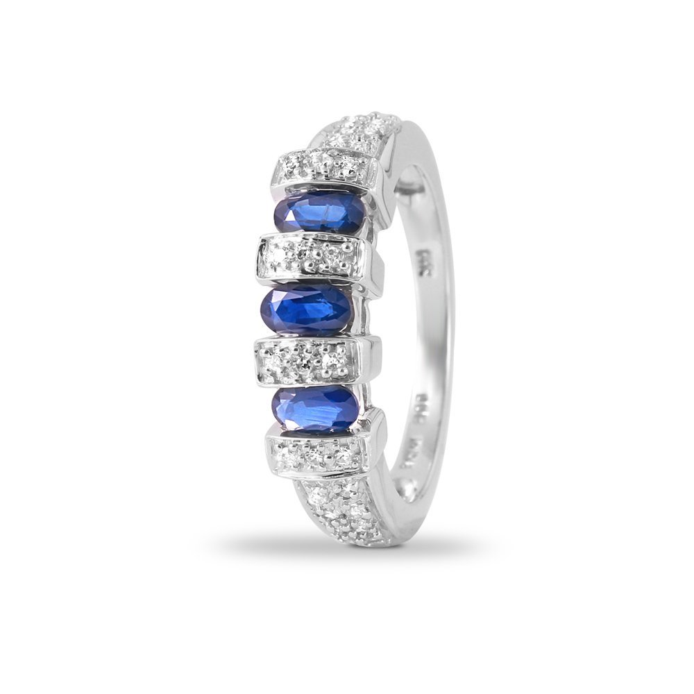 Ladies 1.32CTW Sapphire And Diamond 14K White Gold Ring