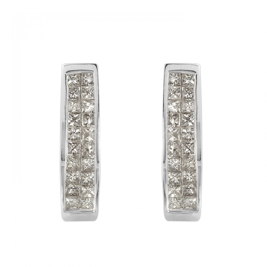Ladies 1CTW Diamond 14K White Gold Earrings