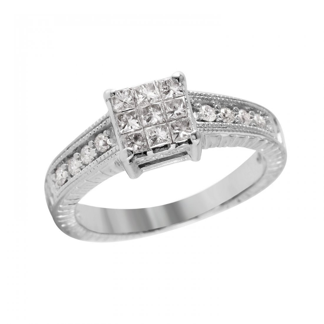 Ladies 0.48CTW Diamond 14K White Gold Ring