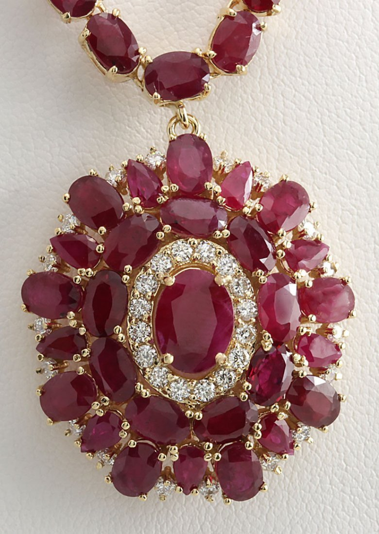53.68CTW Natural African Ruby And Diamond Necklace In