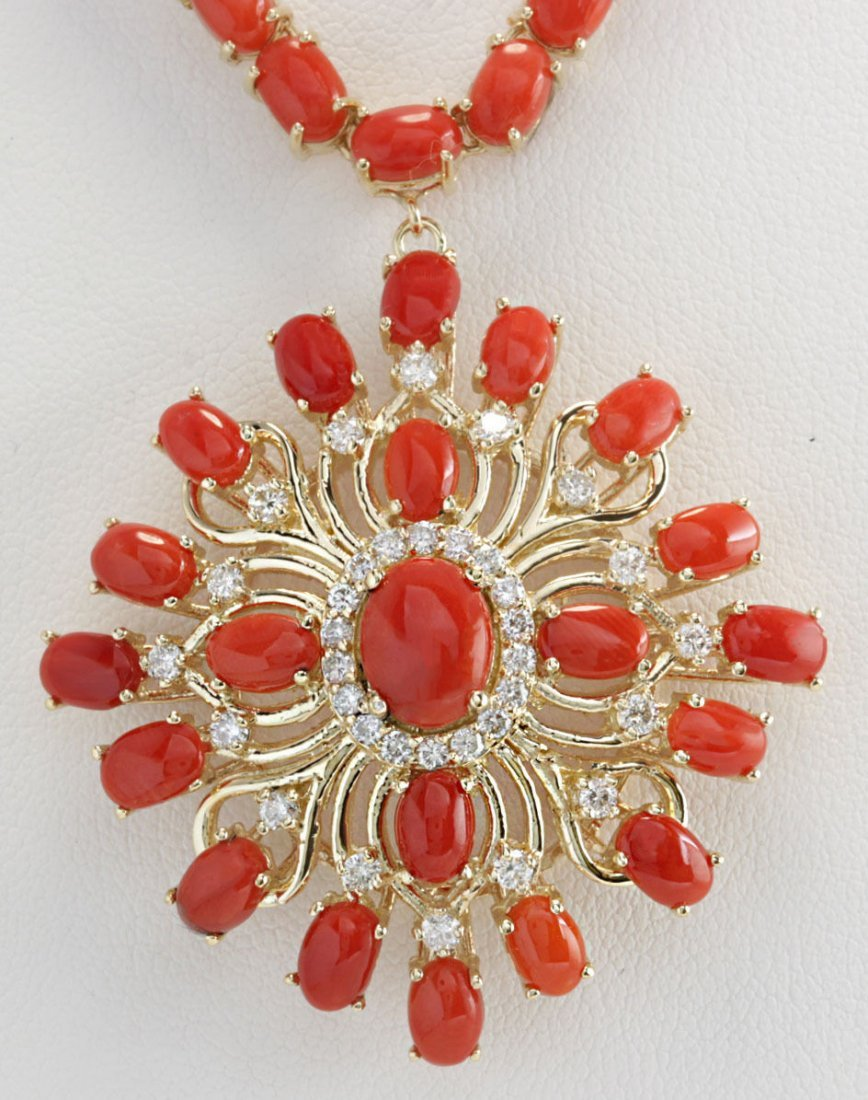 53.01CTW Natural Red Coral And Diamond Necklace In 14K