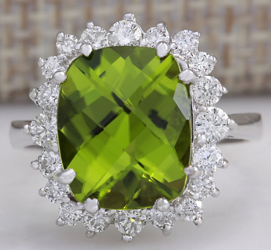 5.93CTW Natural Peridot And Diamond Ring 14K Solid