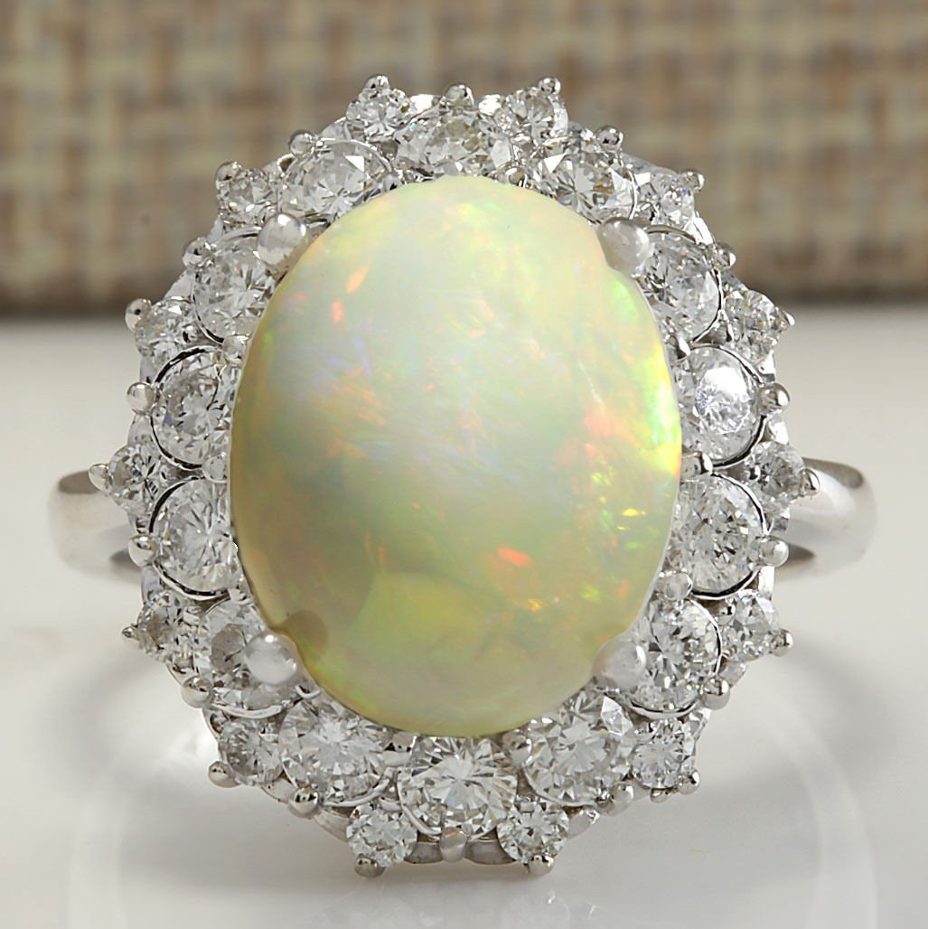 5.93CTW Natural Opal And Diamond Ring In 14K Solid
