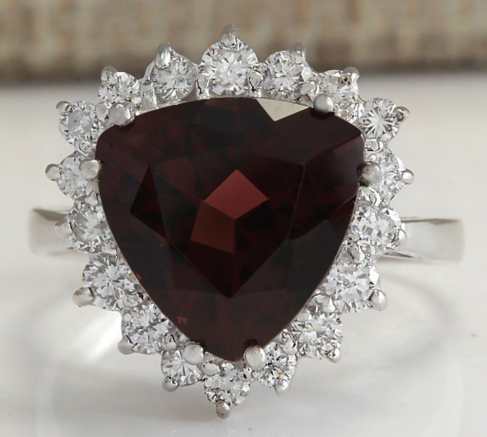 5.92CTW Natural Red Tourmaline And Diamond Ring 14K