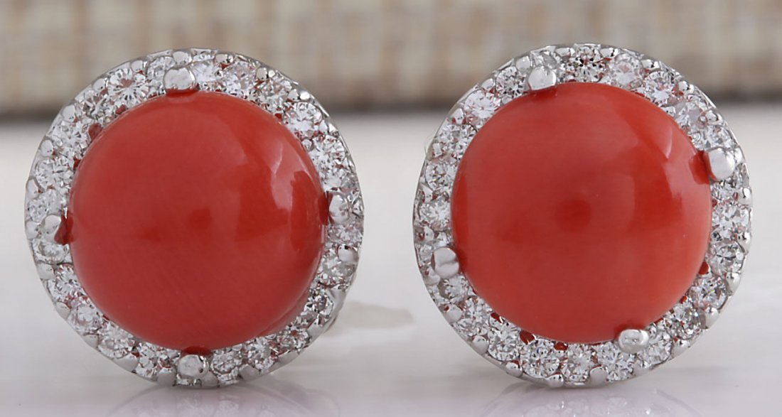 5.89CTW Natural Red Coral And Diamond Earrings 14K