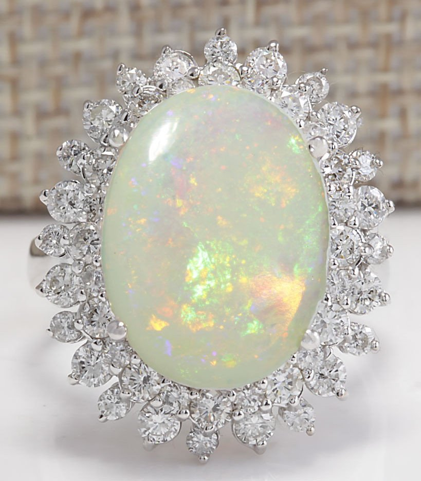 5.86CTW Natural Australian Opal And Diamond Ring In 14K