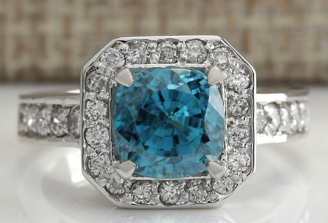 5.85CTW Natural Blue Zircon And Diamond Ring 14K Solid