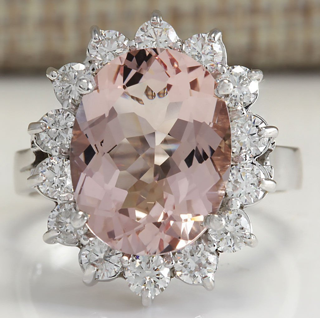 5.82CTW Natural Peach Morganite And Diamond Ring In 14K