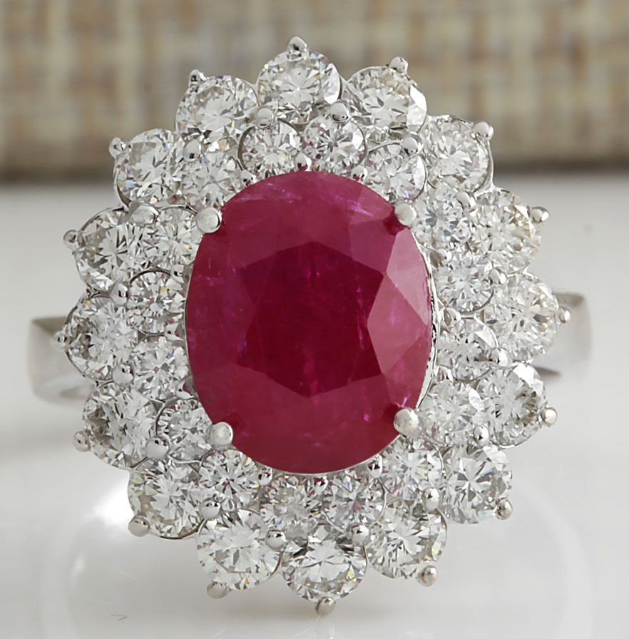5.80CTW Natural Ruby And Diamond Ring 14K Solid White
