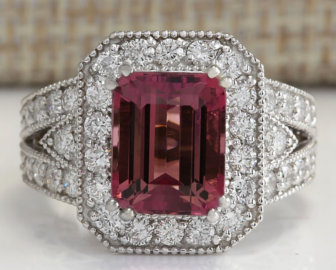 5.78CTW Natural Pink Tourmaline And Diamond Ring 14K