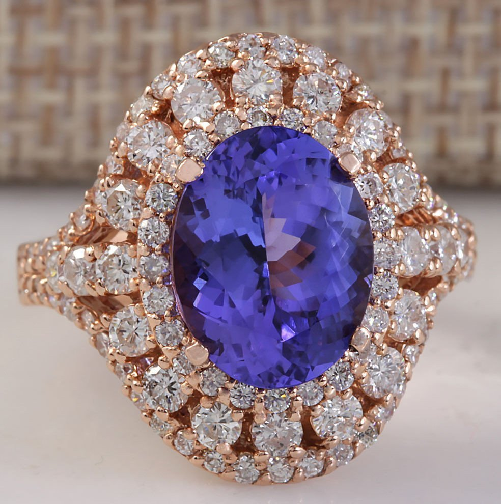 5.72CTW Natural Blue Tanzanite And Diamond Ring 14K