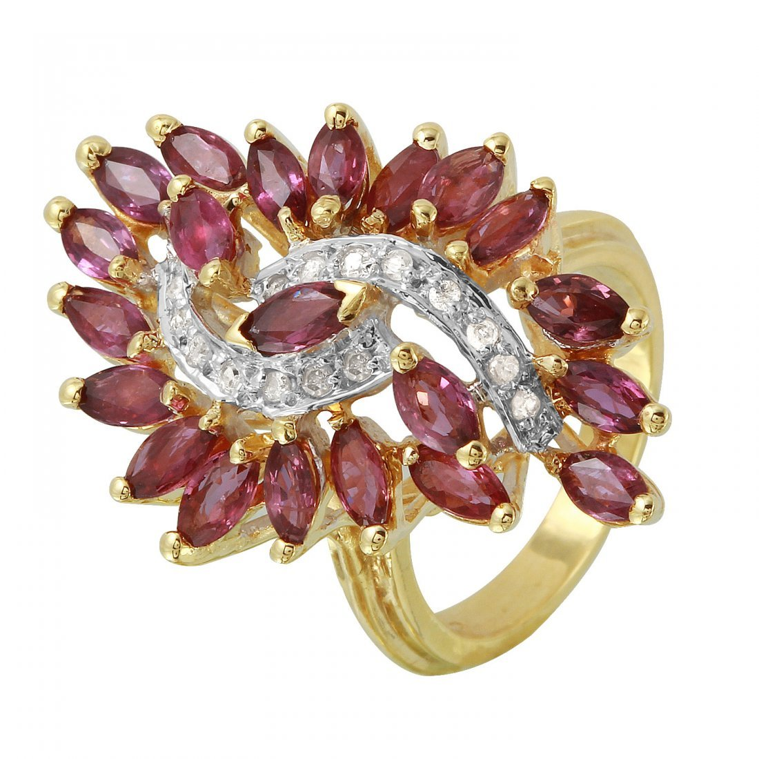 Ladies 5.41CTW Ruby And Diamond 14K Yellow Gold Ring