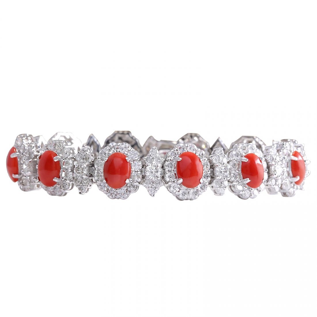 18.77CTW Natural Red Coral And Diamond Bracelet In 14K
