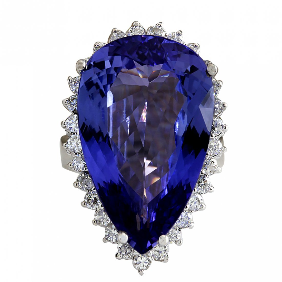 23.32CTW Natural Tanzanite Diamond Ring 14K Solid White