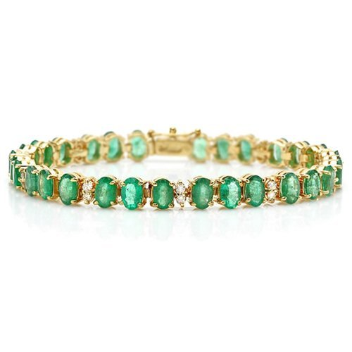 14K Emerald And Diamond Bracelet