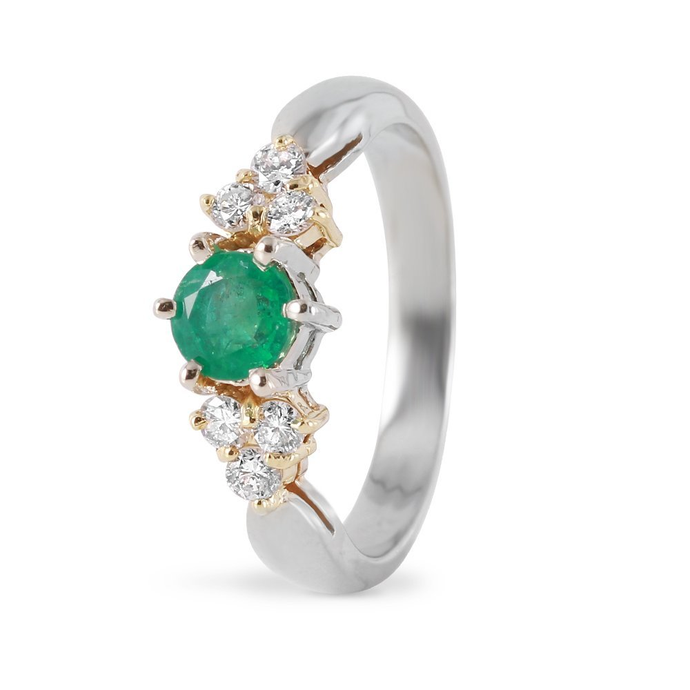 Ladies 0.55CTW Emerald and Diamond 14K White Gold Ring