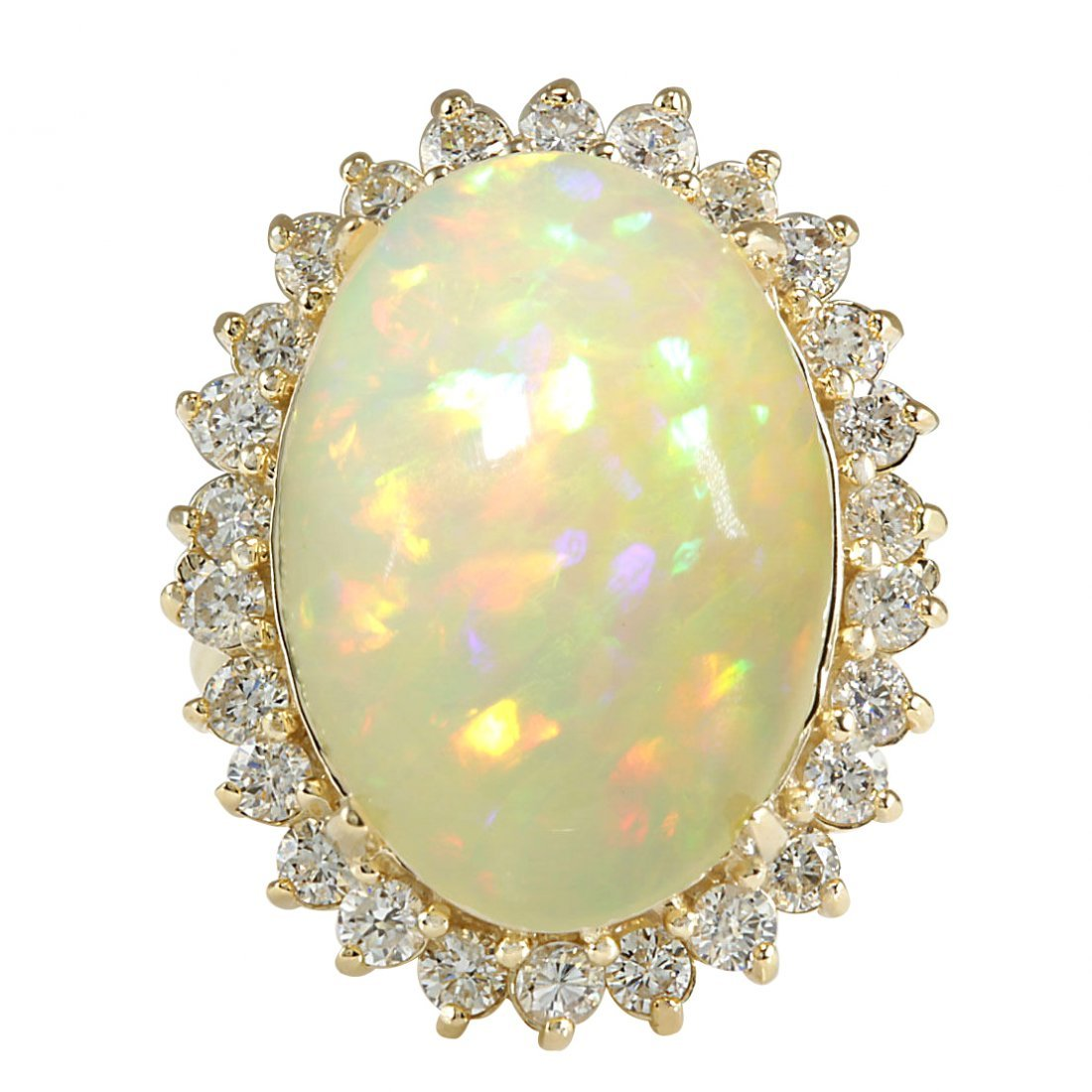 12.51CTW Natural Ethiopian Opal And Diamond Ring In 14K