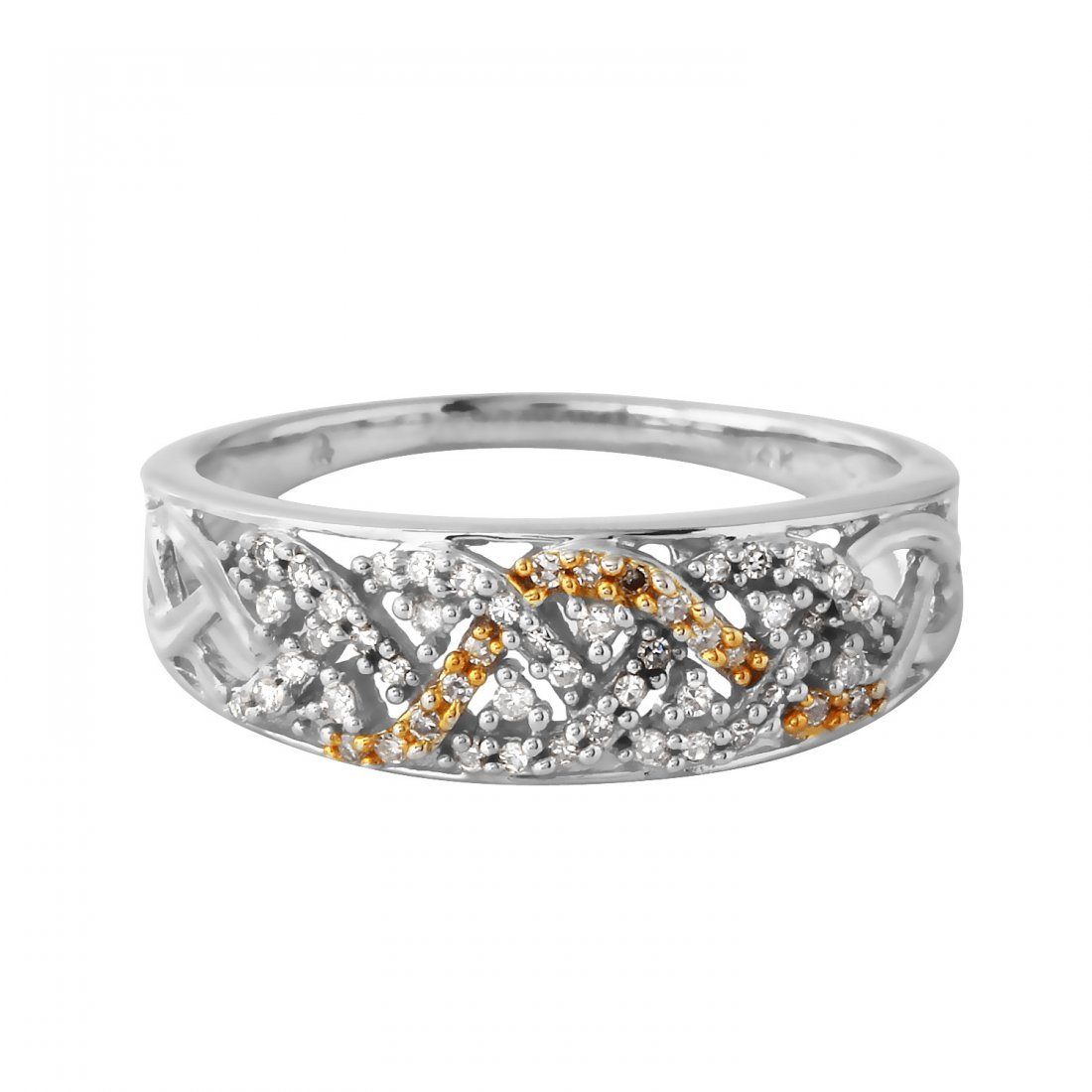 Ladies 0.22CTW Diamond 14K Two tone Gold Ring