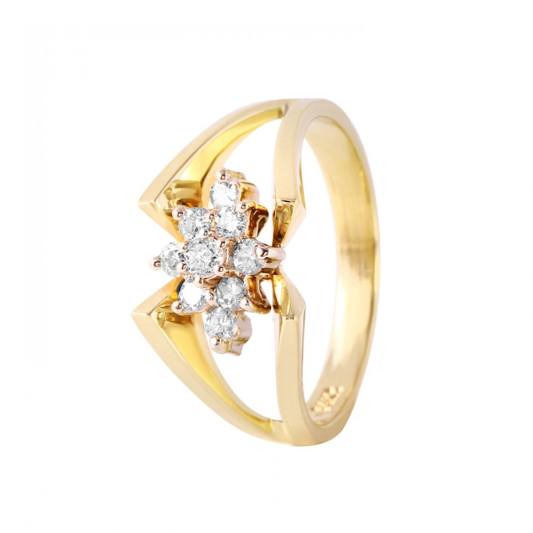 Ladies 0.27CTW Diamond 14K Yellow Gold Ring