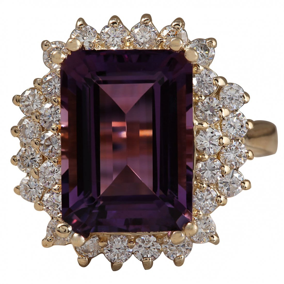 6.53CTW Natural Amethyst And Diamond Ring In 14K Solid