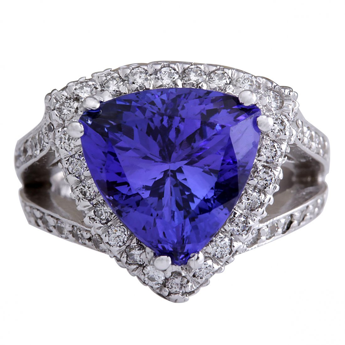 7.72CTW Natural Blue Tanzanite And Diamond Ring 14K