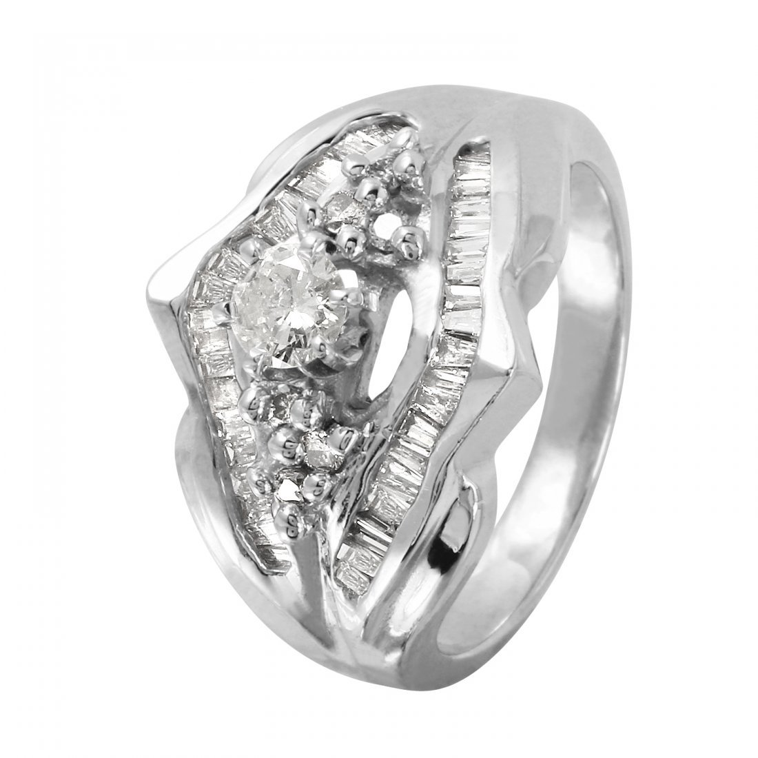 Ladies 0.79CTW Diamond 14K White Gold Ring