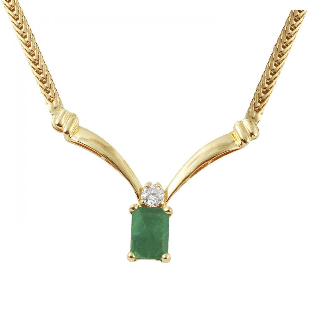 Ladies 1.02CTW Emerald And Diamond 14K Yellow Gold