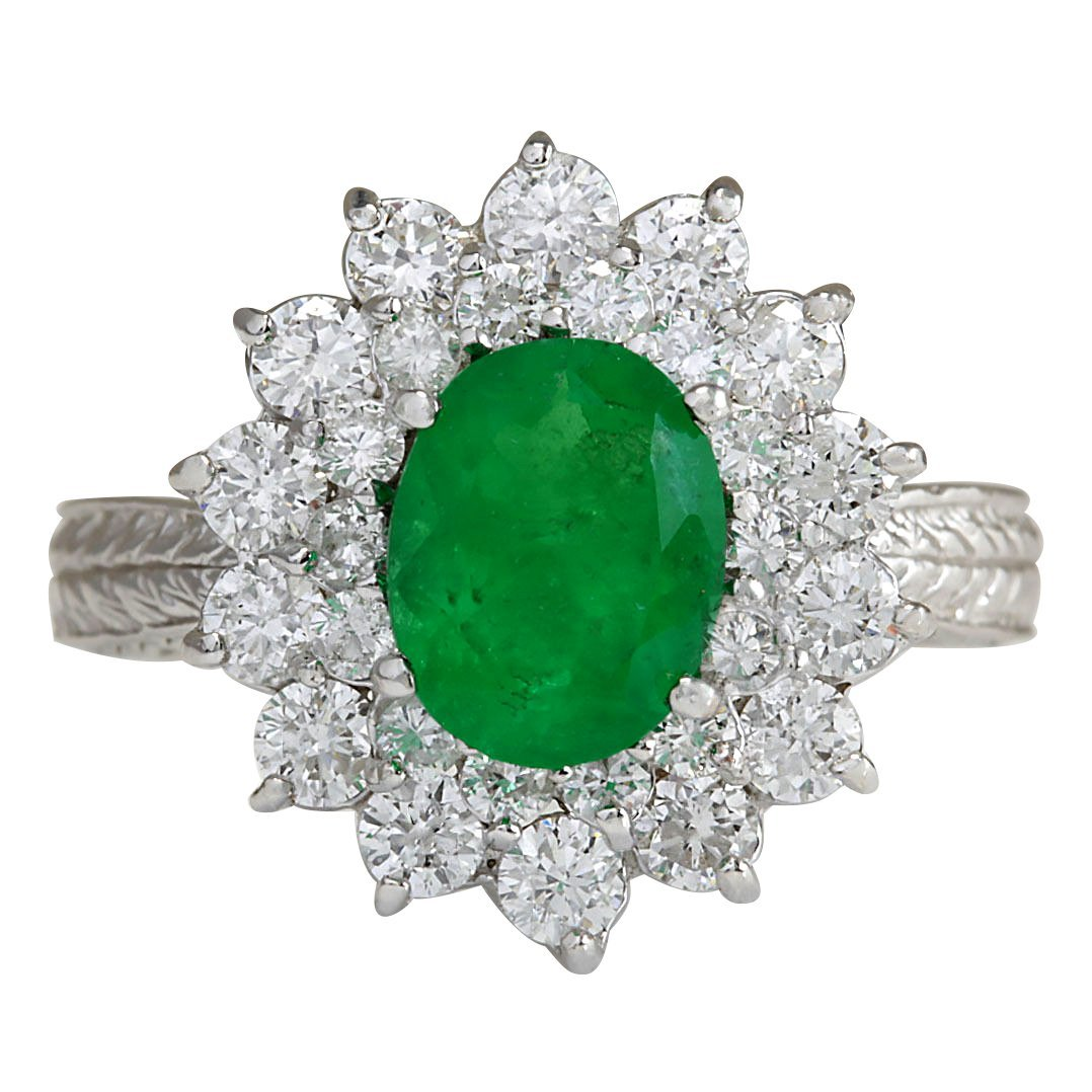 2.50CTW Natural Emerald And Diamond Ring 14K Solid