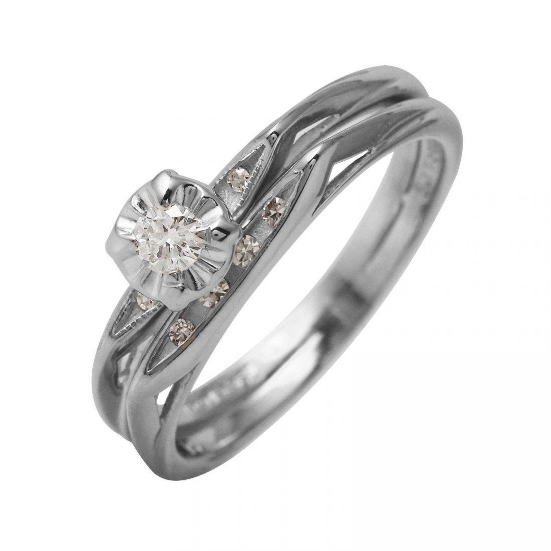 Ladies 0.15CTW Diamond 14K White Gold Ring