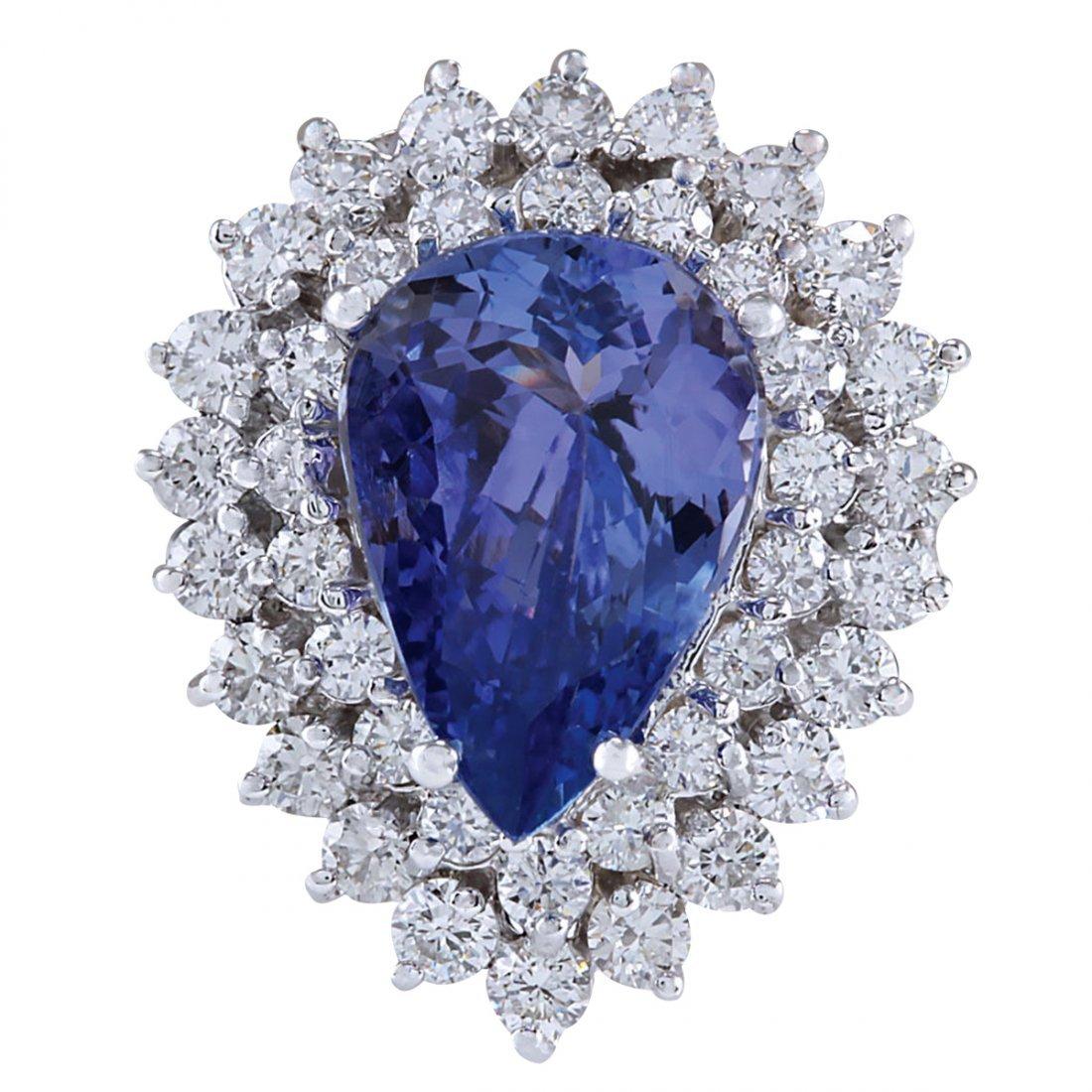 5.75CTW Natural Tanzanite And Diamond Ring In 14K White