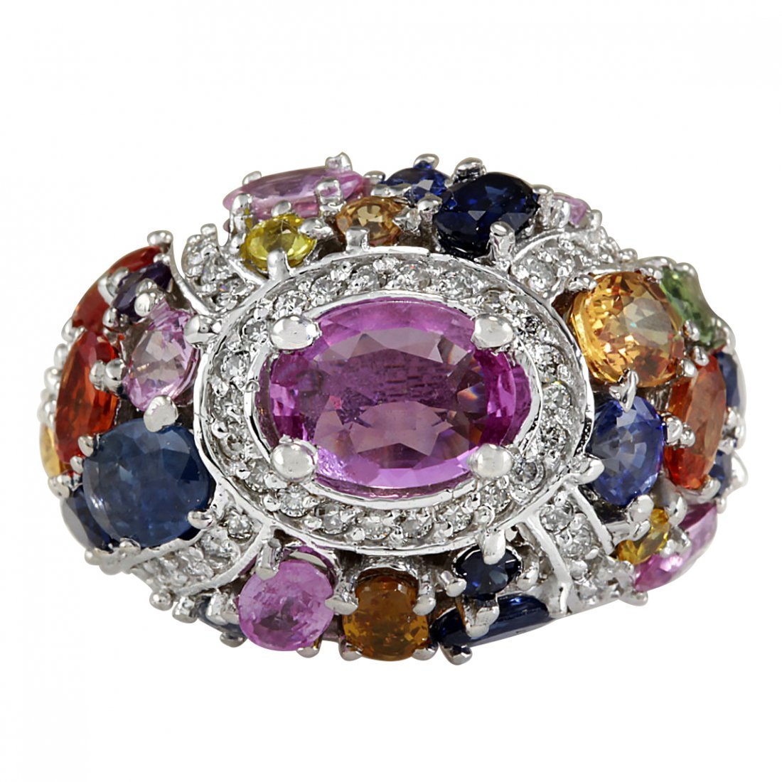 6.83CTW Natural Sapphire And Diamond Ring In 14K White