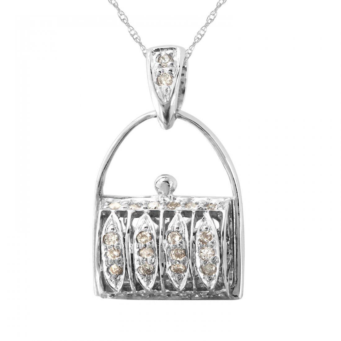 Ladies 0.25CTW Diamond 18k White Gold Necklace