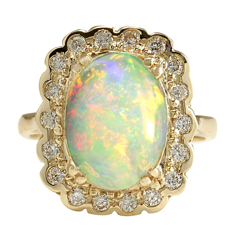 2.95CTW Natural Opal And Diamond Ring In 14K Solid