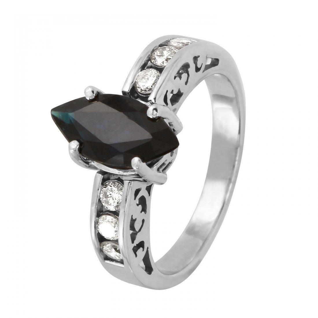 Ladies 2.5CTW Sapphire And Diamond 14K White Gold Ring