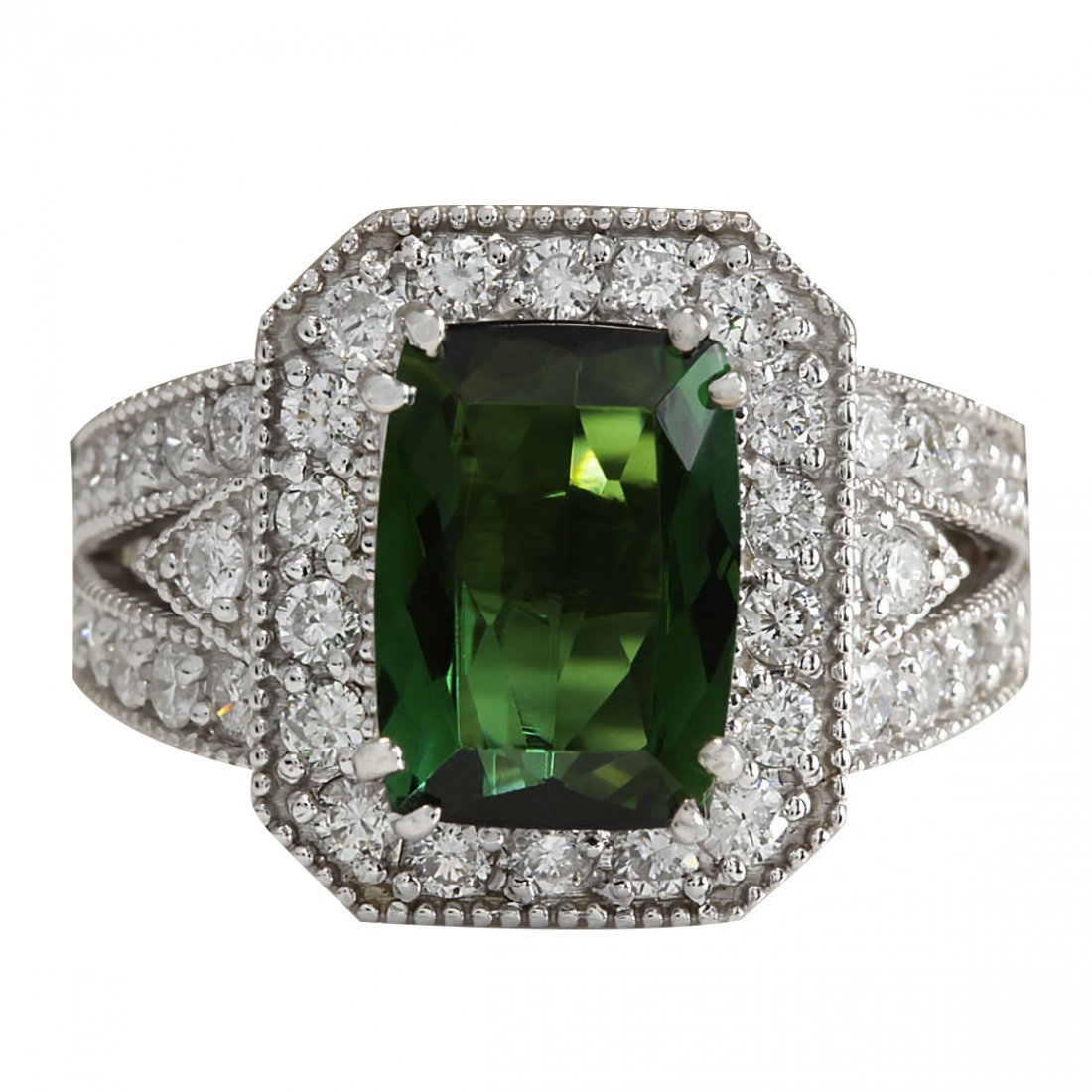 4.72CTW Natural Green Tourmaline And Diamond Ring 14K