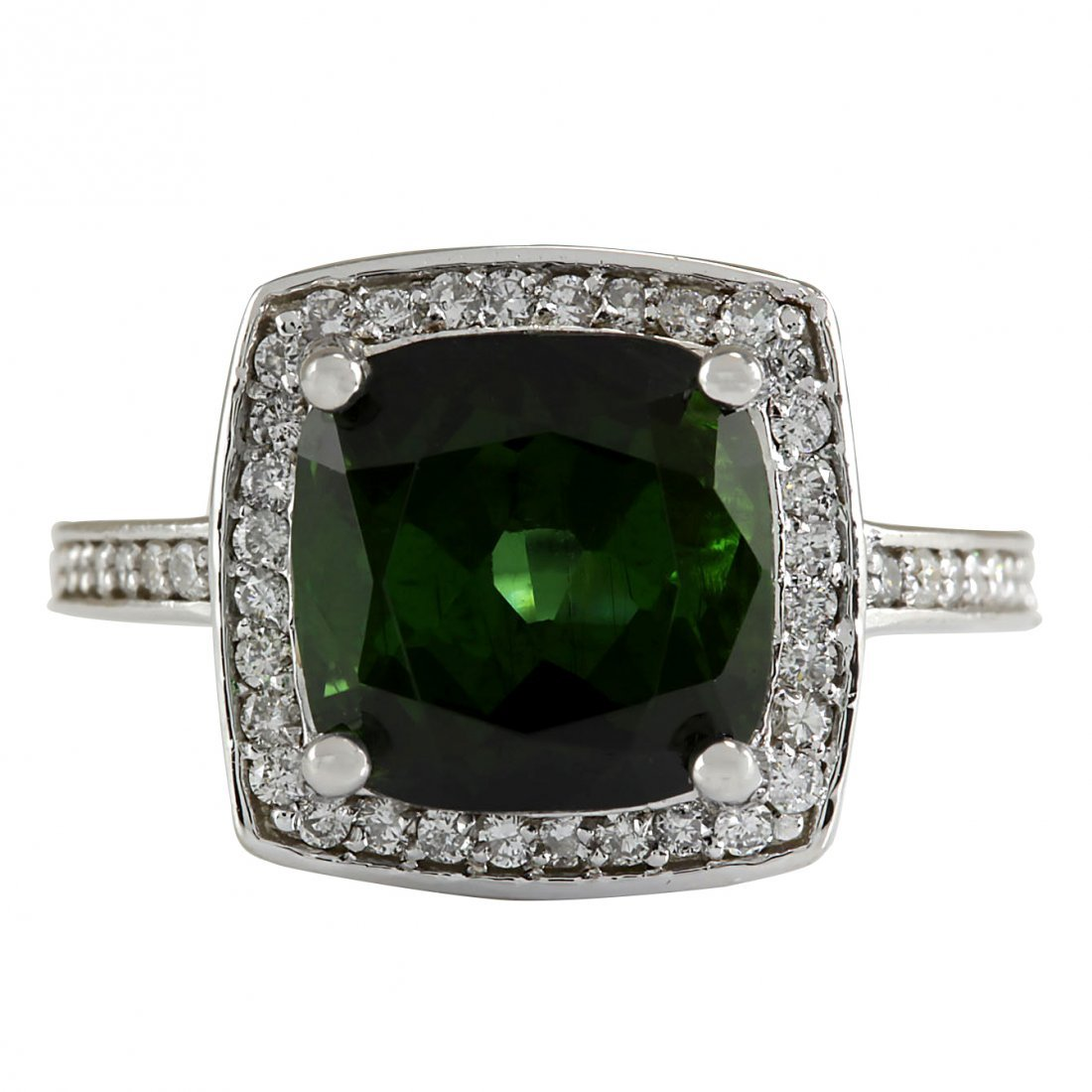 7.22CTW Natural Tourmaline And Diamond Ring 14K Solid