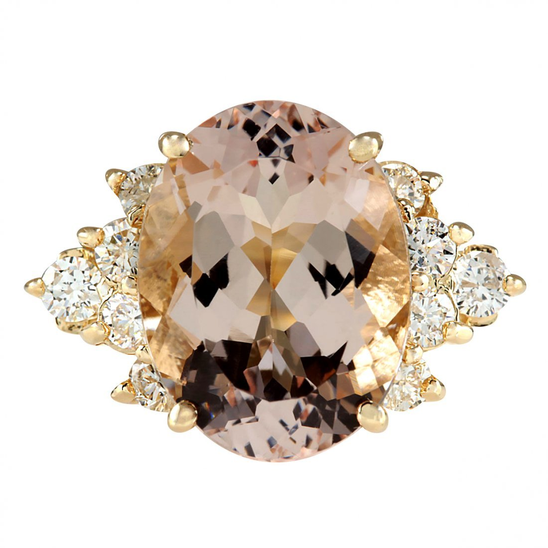5.00CTW Natural Morganite And Diamond Ring In 14K Solid