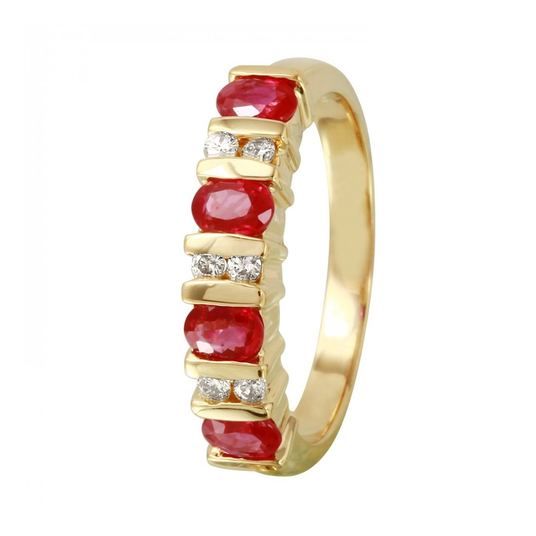 Ladies 1.04CTW Ruby And Diamond 14K Yellow Gold Ring