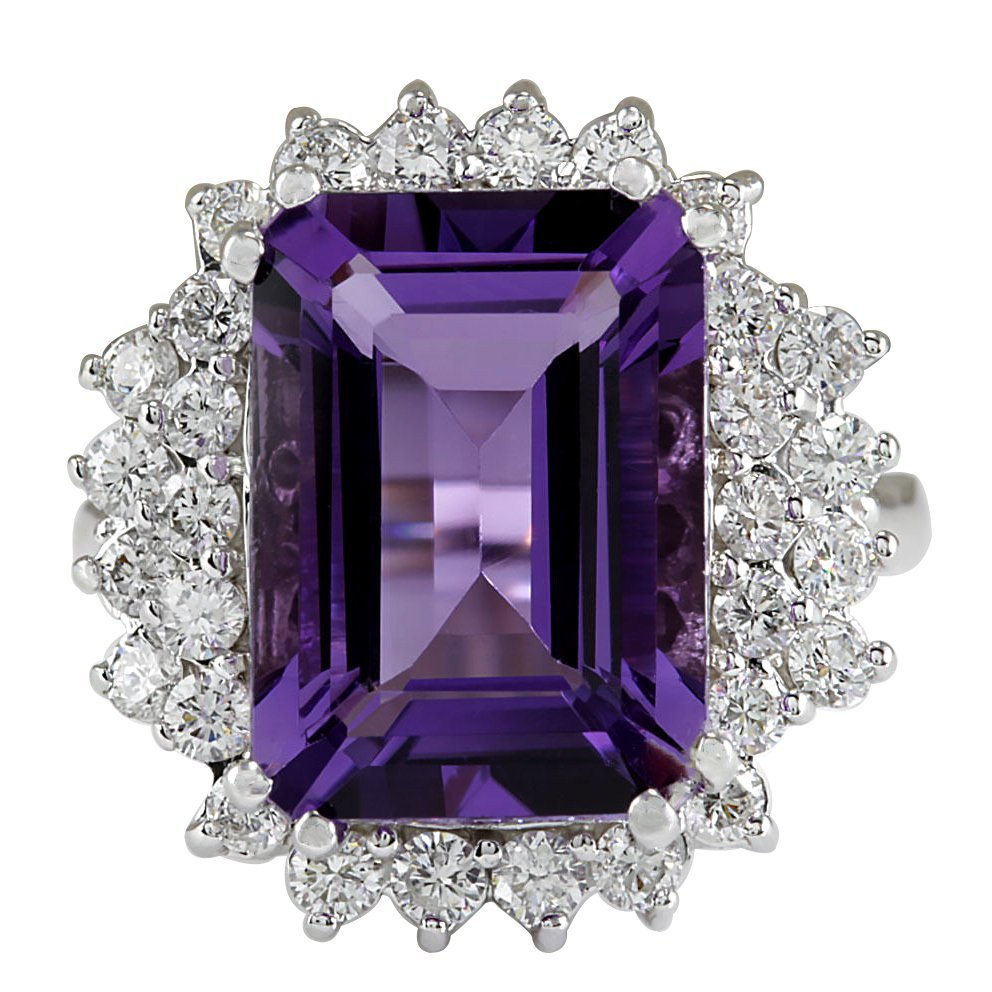 7.50CTW Natural Amethyst And Diamond Ring In 14K White