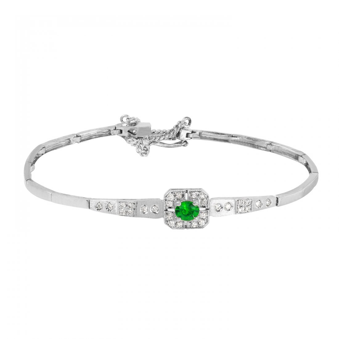 Ladies Created Emerald 14K White Gold Bracelet With